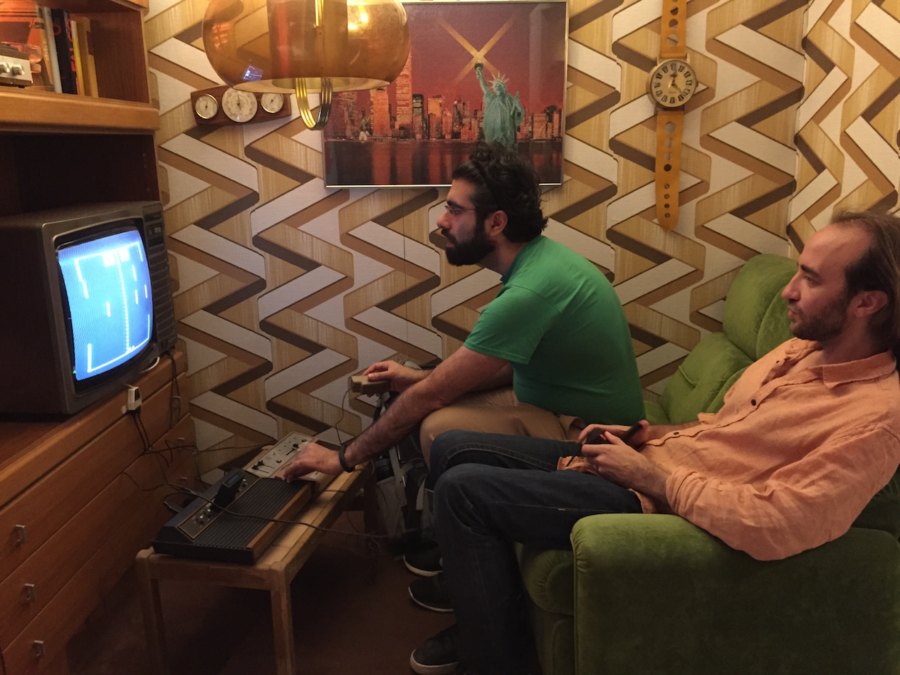 Children of the 80s enjoying some Atari VCS in the 70s room