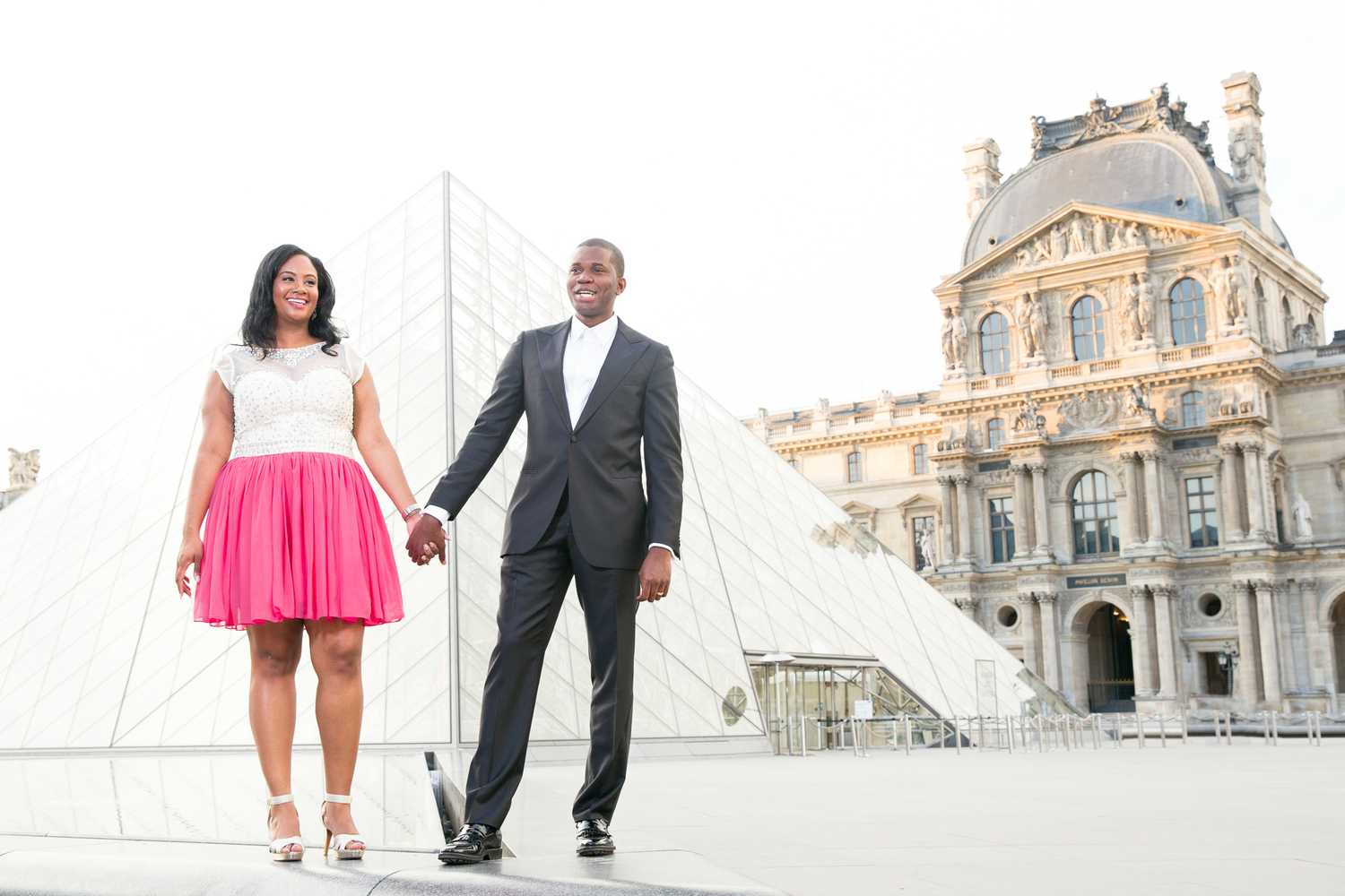 Copy of engaged couple outside the louvre