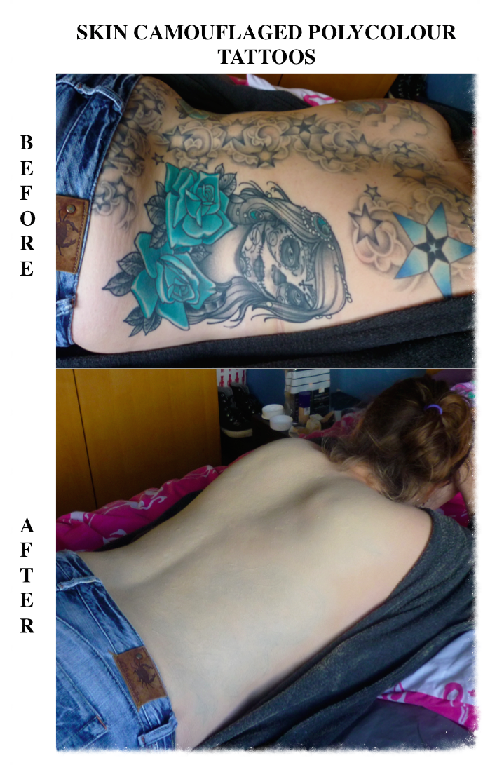 Skin Camouflaged Polycolour Back Tattoos
