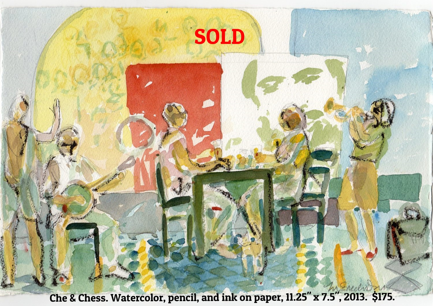 Fred Wise Che and Chess Watercolor, pencil, and ink on paper 11.25 in x 7.5 in 2013.jpg