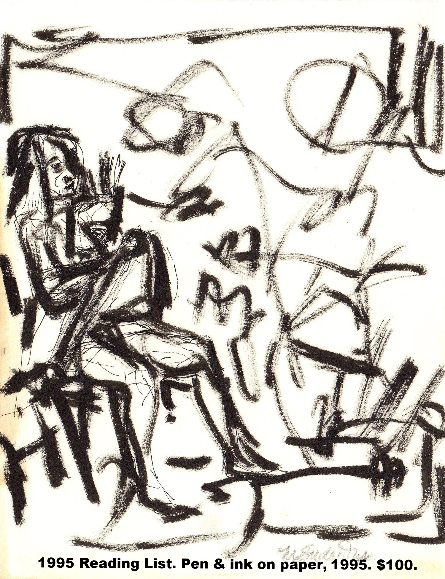 Fred Wise 1995 Reading List Pen and ink on paper 7 in x 9 in 1995.jpg