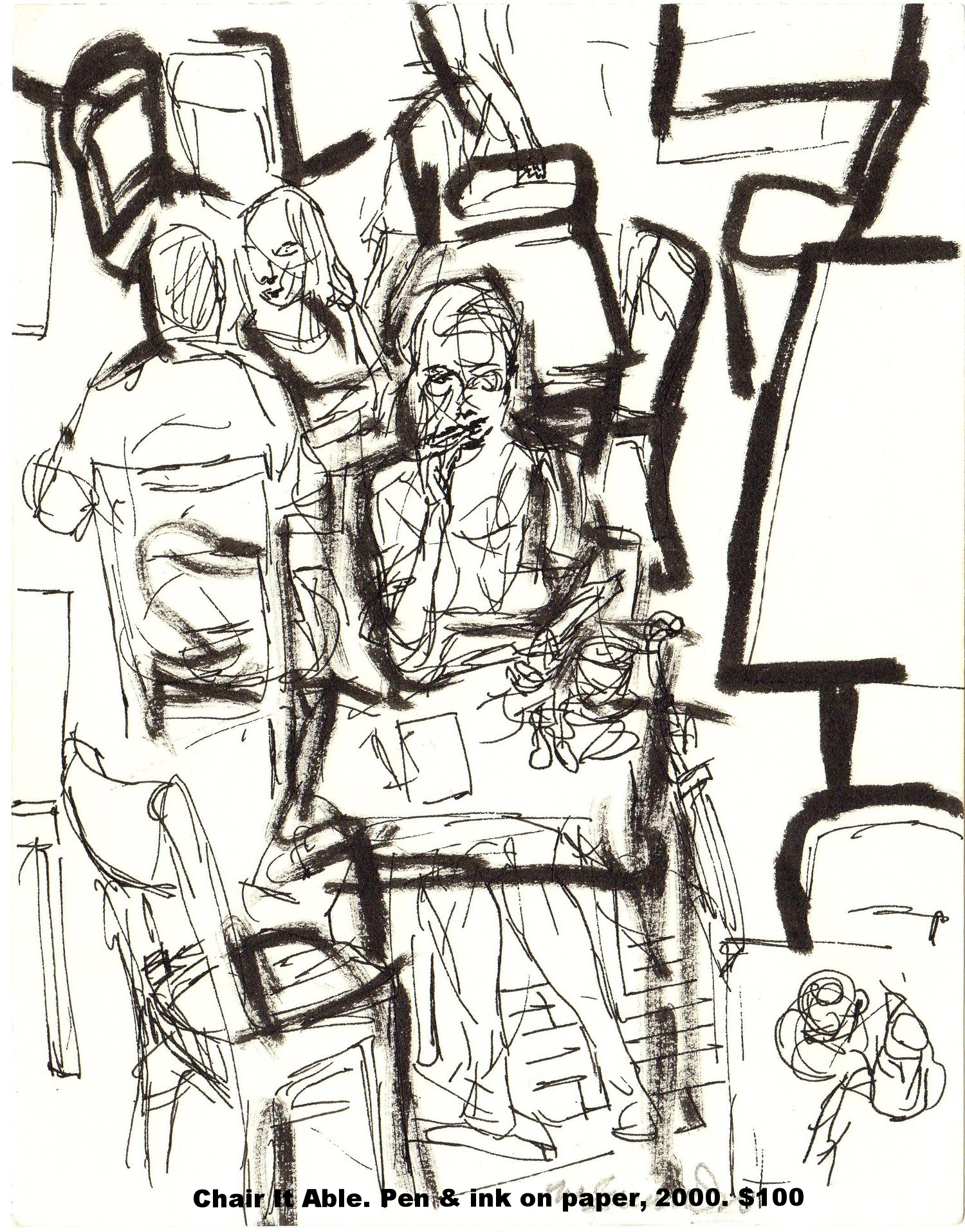Fred Wise Chair It Able Pen and ink on paper 7 in x 9 in 2000.jpg