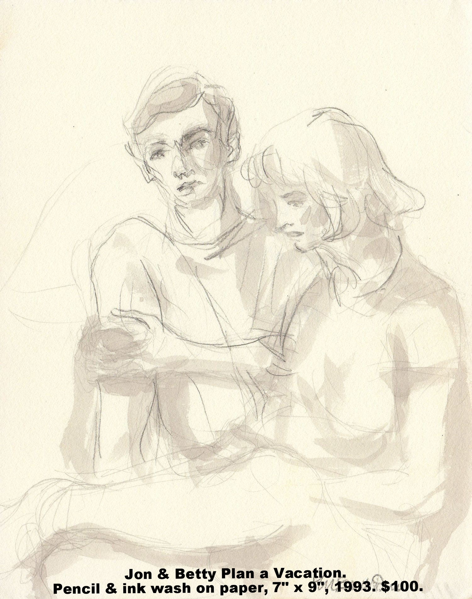 Fred Wise Jon and Betty Plan a Vacation Pencil and ink wash on paper 7 in x 9 in 1993.jpg