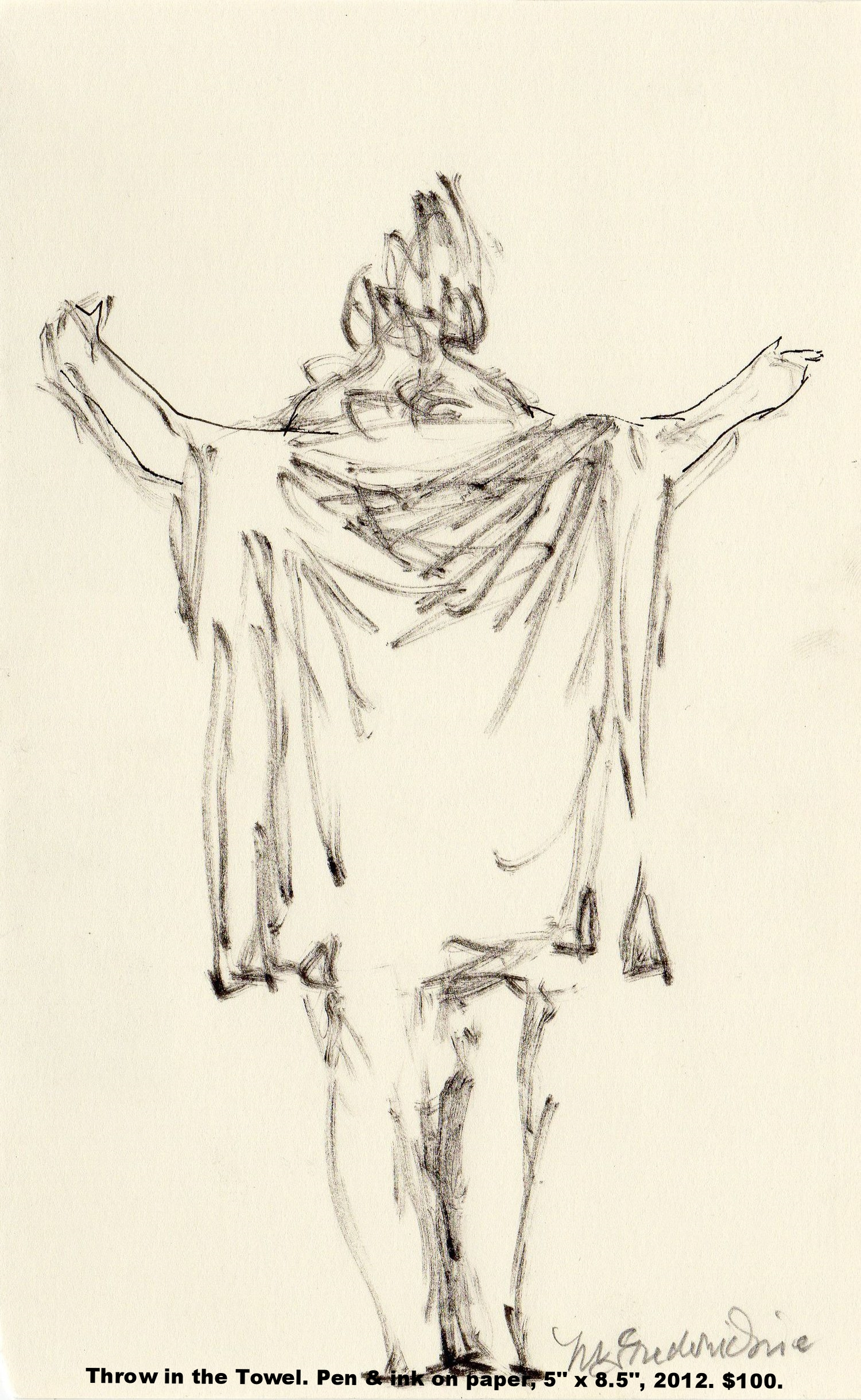 Fred Wise Throw in the Towel Pen and ink on paper 5 in x 8.5 in 2012 .jpg