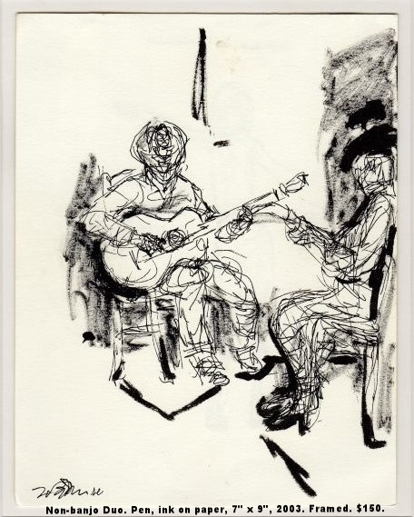Fred Wise Non-banjo Duo Pen and ink on paper 7 x 9 2003 framed $150.jpg