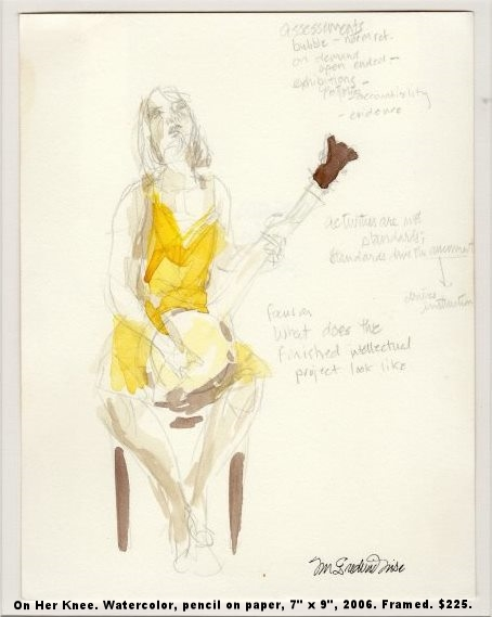 Fred Wise On Her Knee Watercolor, pencil on paper 7 x 9 2006 framed $225.jpg