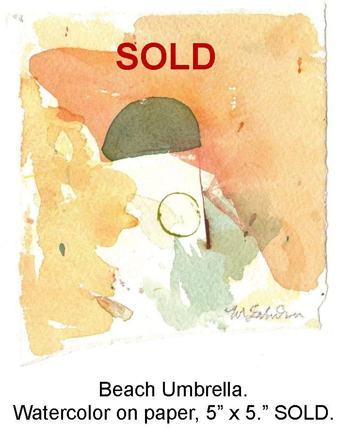 Fred Wise, Beach Umbrella. Watecolor on paper, 5 x 5, 2009.jpg