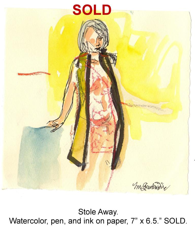 Fred Wise, Stole Away. Watercolor, pen and ink pencil on paper, 7 x 6.5, 2013.jpg