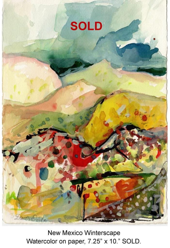 Fred Wise, New Mexico Winterscape, watecolor on paper, 7.25 x 10, 1999.jpg