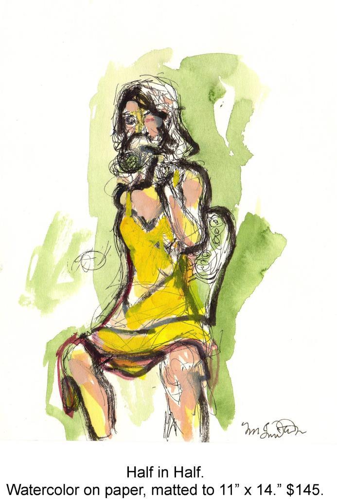 Fred Wise, Half in Half. Watecolor, pen, ink on paper, 7 x 9 matted to 11 x 14, 2000jpg.jpg