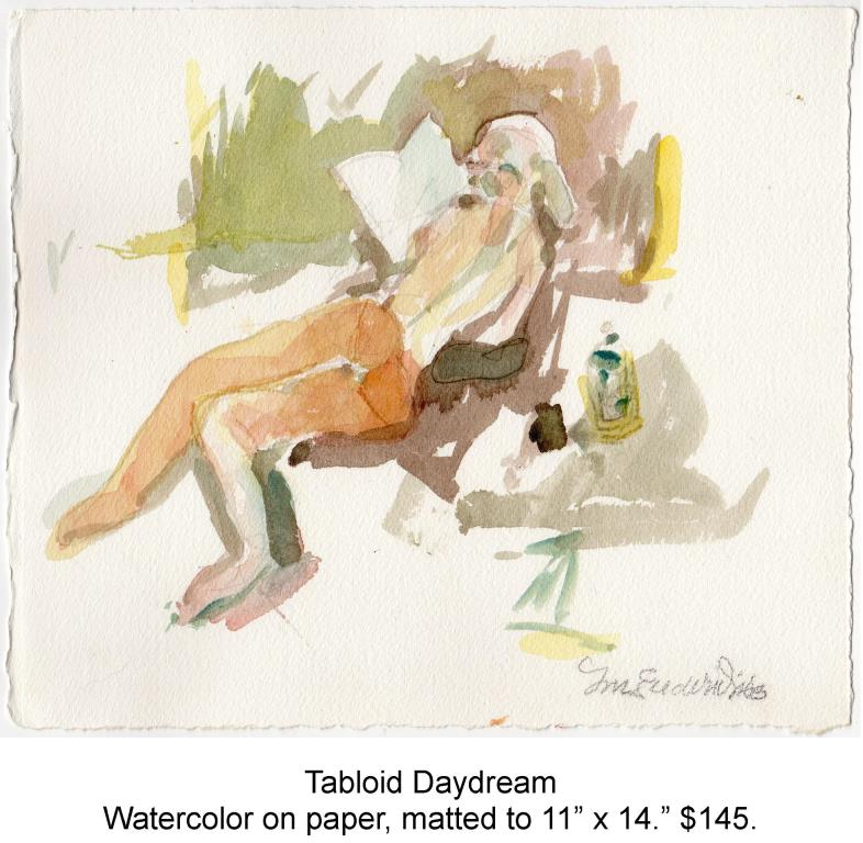 Fred Wise, Tabloid Daydream. Watecolor, pencil on paper, matted to 11 x 14, 2014.jpg