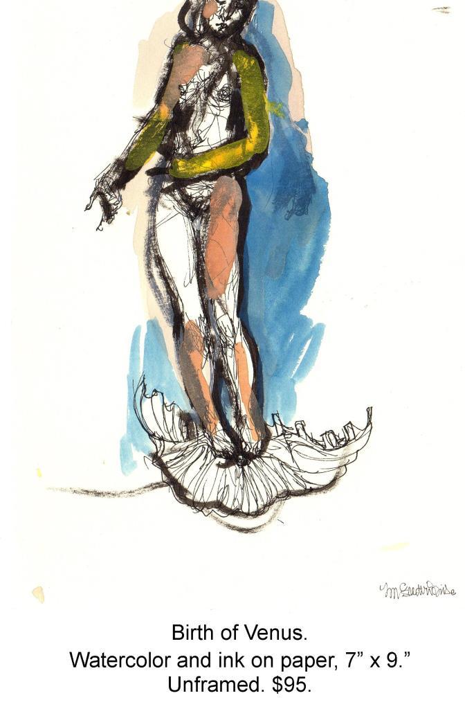 Fred Wise, Birth of Venus. Watercolor, ink on paper, 7 x 9, 2005.jpg