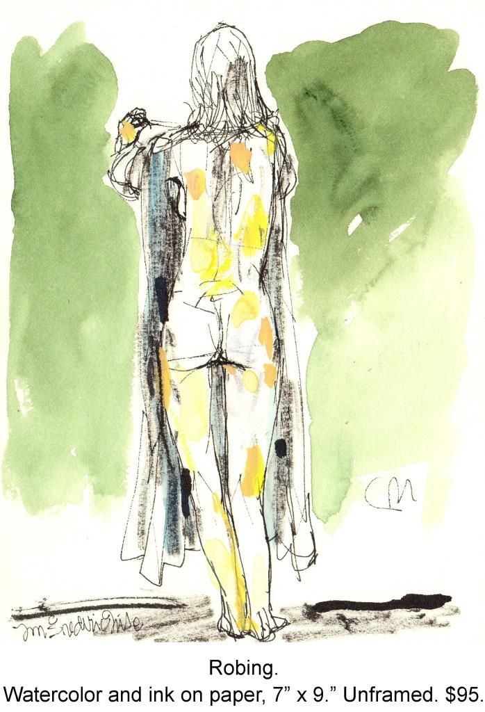 Fred Wise, Robing. Watercolor and pen on paper, 7 x 9, 2005.jpg