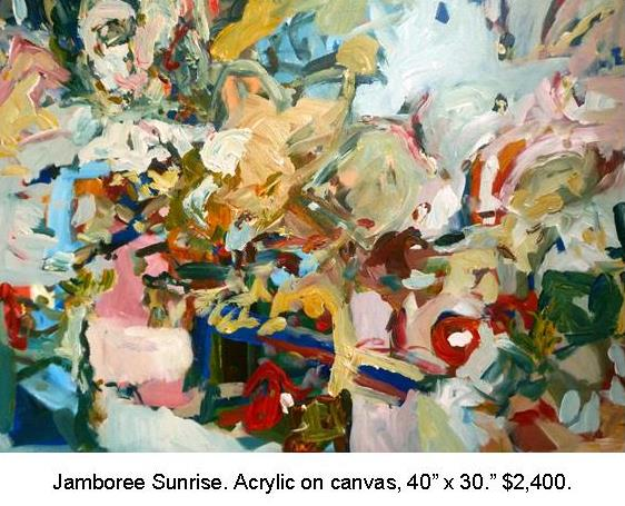 Fred Wise, Jamboree Sunrise, Acrylic on Canvas 40 in x 30 in 2014, $2,000.JPG