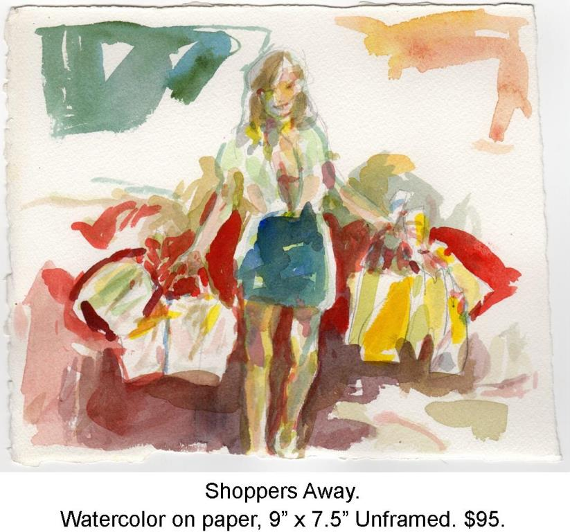 Fred Wise, Shoppers Away, Watercolor and pencil on paper, 9 x 7.5, portfolio, 2013.jpg