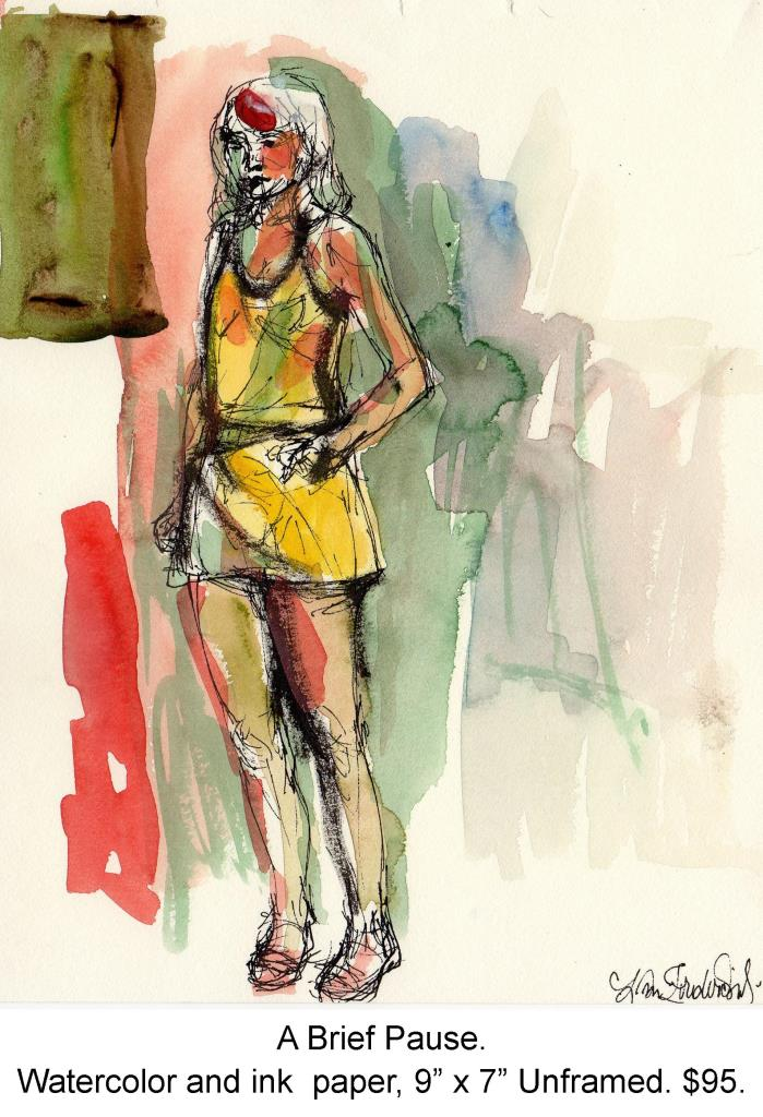 Fred Wise, A Brief Pause. Watercolor and ink on paper, 7 x 9, portfolio, 2007.jpg