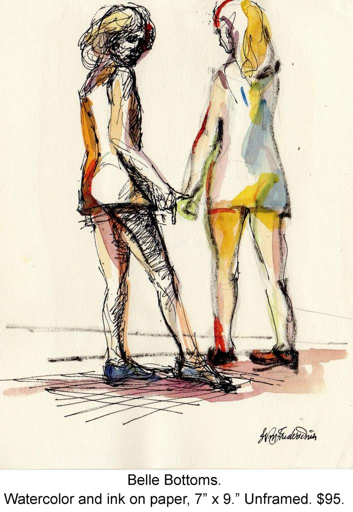 Fred Wise, Belle Bottoms. Watecolor, ink on paper, 7 x 9, 1996, portfolio.jpg
