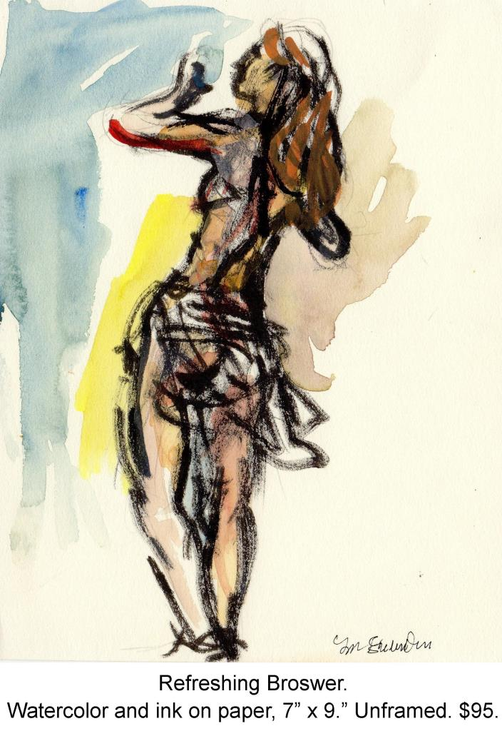 Fred Wise, Refreshing Browser. Watercolor and ink on paper, 7 x 9, portfolio, 2007.jpg
