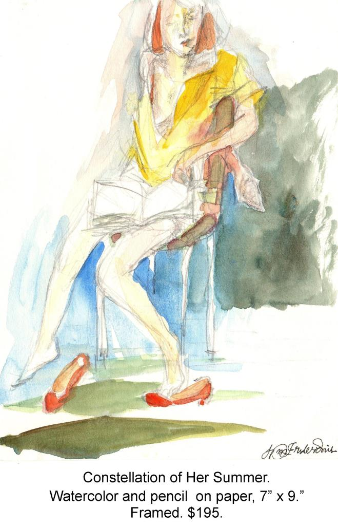 Fred Wise, Constellation of Her Summer. Watercolor, pencil on paper, 7 x 9, 1997, framed.jpg