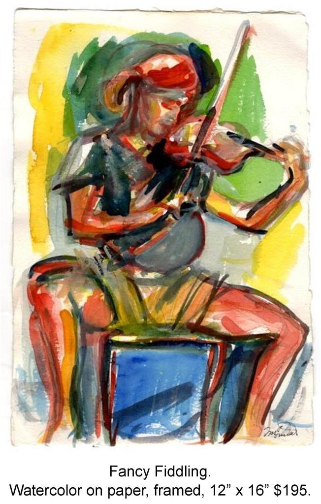 Fred Wise, Fancy Fiddling. Watercolor on paper, 8 x 11, 1996.jpg