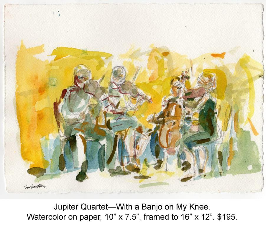 Fred Wise, Jupiter Quartet, With a Banjo on My Knee. Watercolor, pencil on paper, 10 x 7.25, 2012.jpg