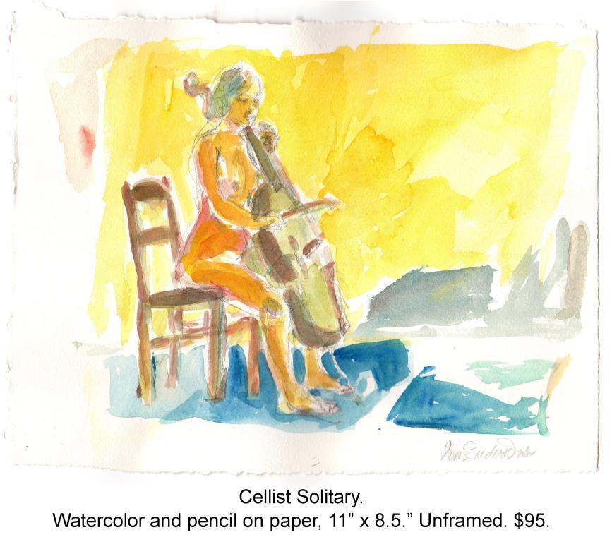 Fred Wise, Cellist Solitary. Watercolor, pencil on paper, 11 x 8.5, 2015.jpg