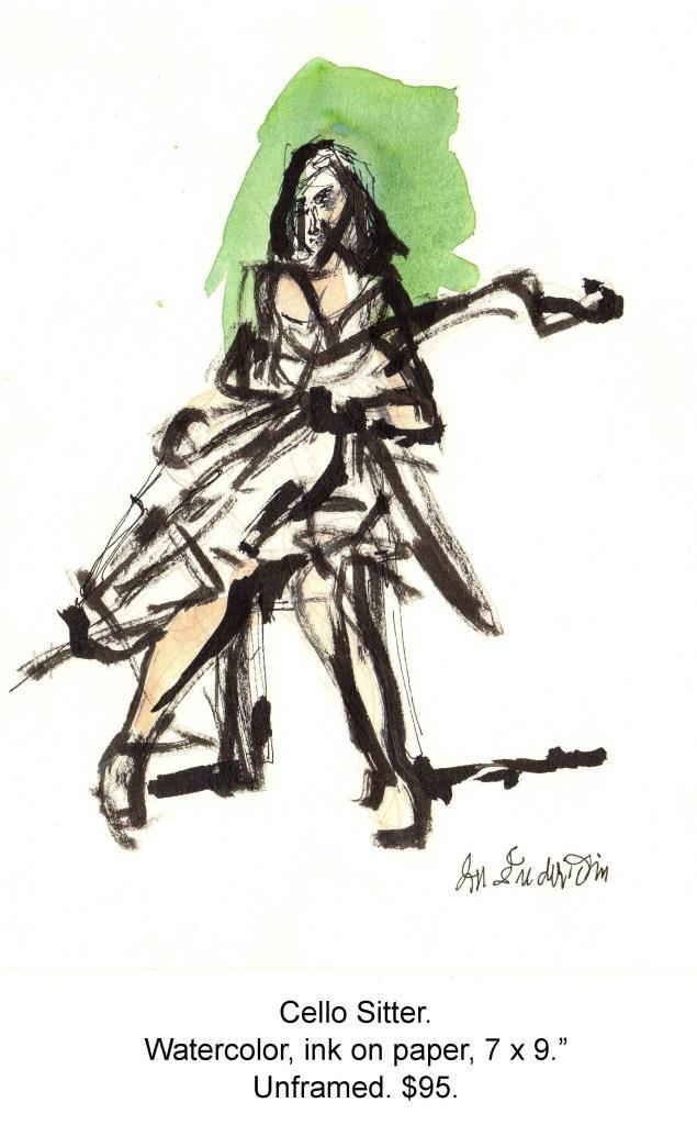 Fred Wise, Cello Sitter. Watercolor, ink on paper, 7 x 9, 1999.jpg