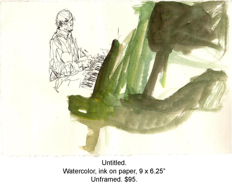 Fred Wise, Untitled, pianist. Watercolor and ink on paper, 9 x 6.25. Web.jpg