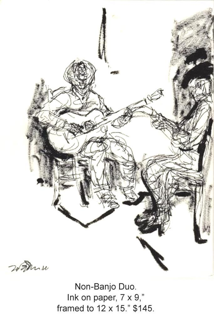 Fred Wise, Non-banjo Duo. Ink on paper 7 x 9, 2003, framed, web.jpg