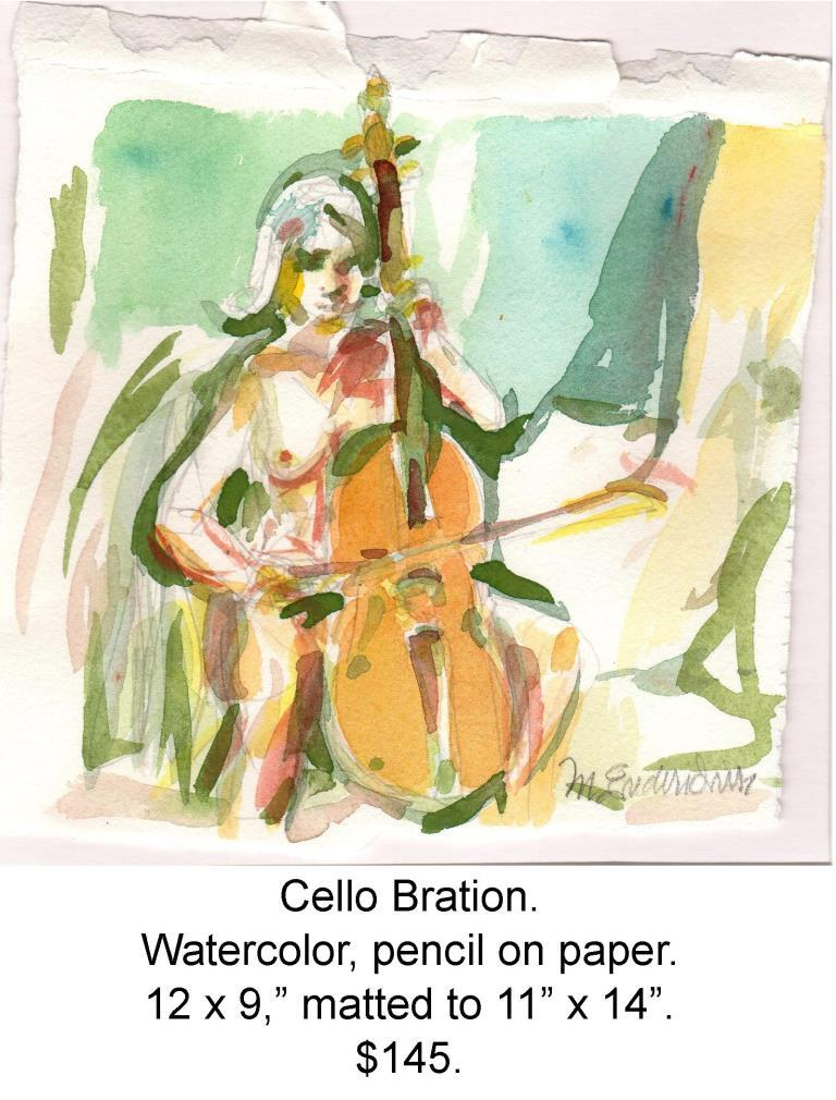 Fred Wise, Cello Bration. Watercolor, pencil on paper, 6.75 x 7, 2015, matted, web.jpg