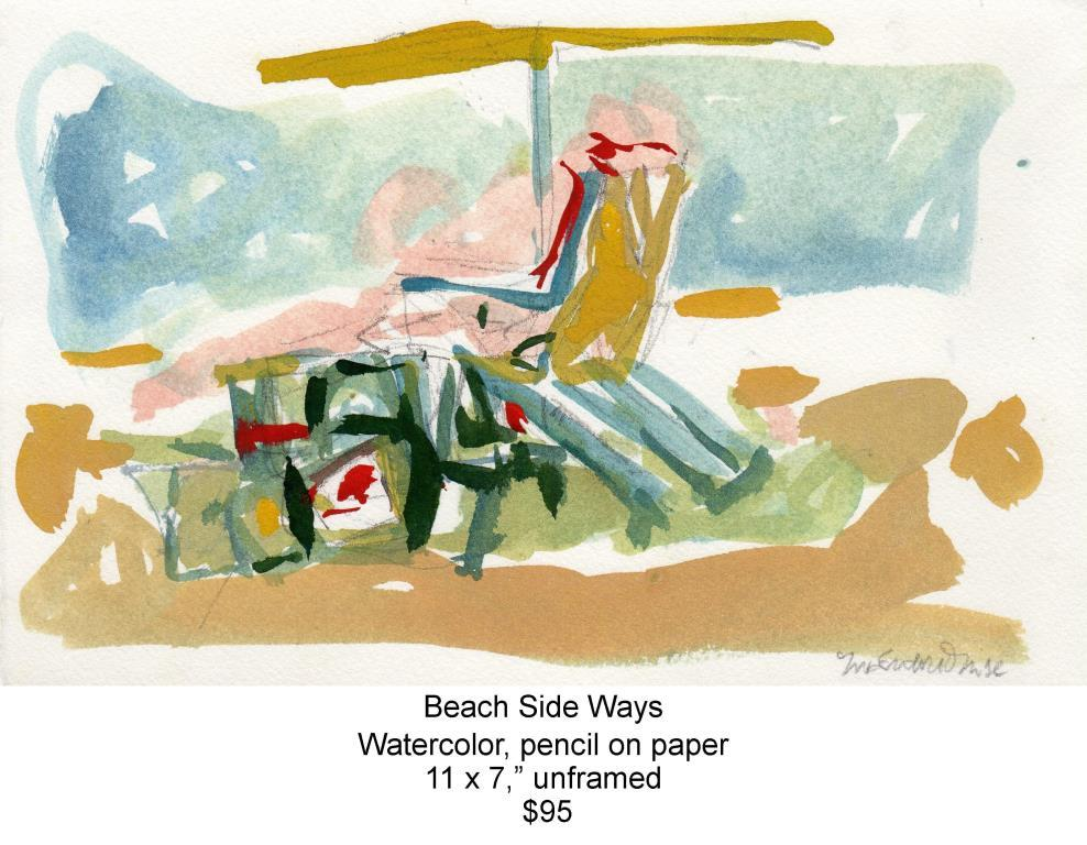 Fred Wise, Beach Side Ways. Watercolor & pencil, 11 x 7, 2011, web.jpg