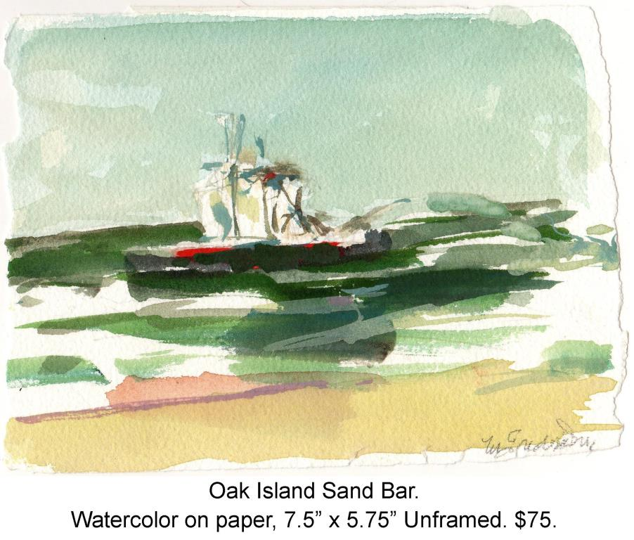 Fred Wise, Oak Island Sand Bar. Watercolor, pencil on paper, 7.5 x 5.75, 2009, wrapped.jpg