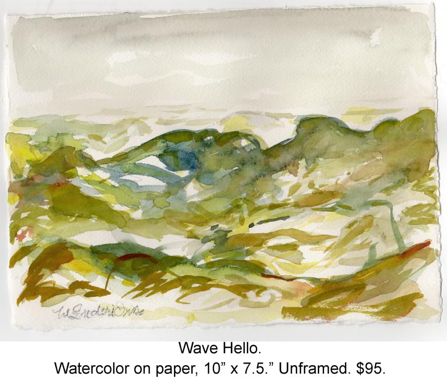 Fred Wise, Wave Hello. Watercolor and pencil on paper, 10 x 7.5, 2015, wrapped.jpg