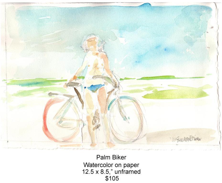 Fred Wise, Palm Biker. Watercolor, pencil,12.5 x 8.5, 2015, web.jpg