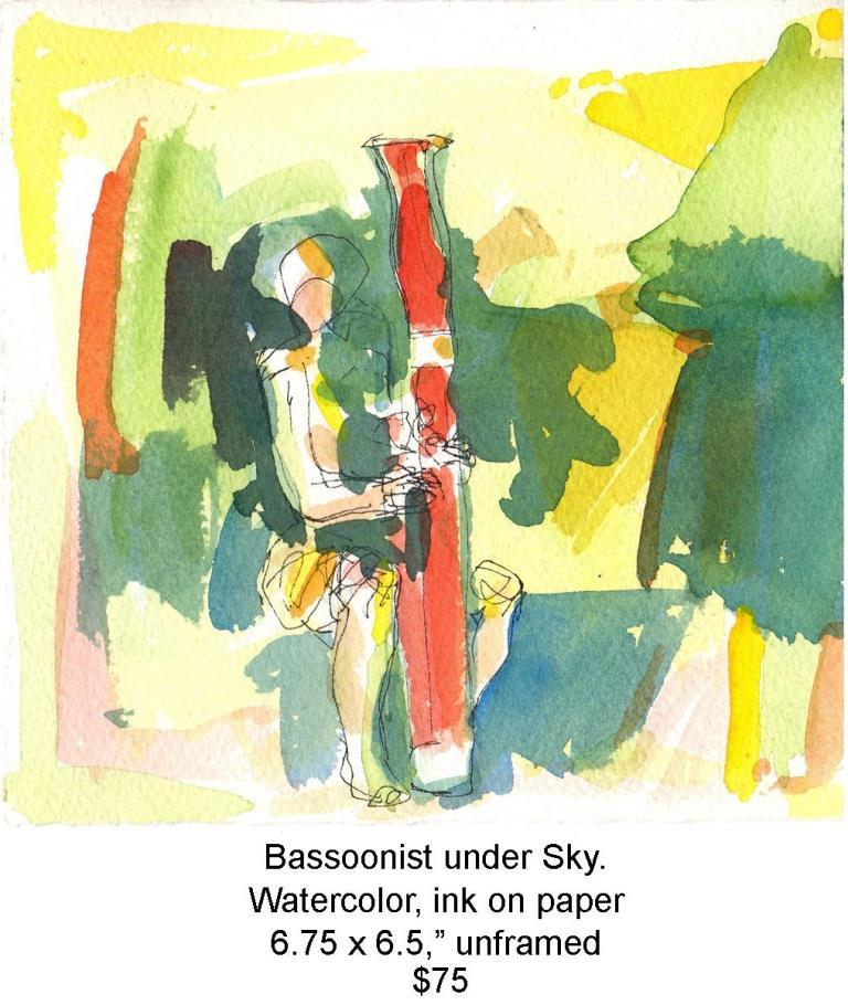 Fred Wise, Bassoonist under Sky. Watercolor,ink,  6.75 x 6.5, 2013, web.jpg