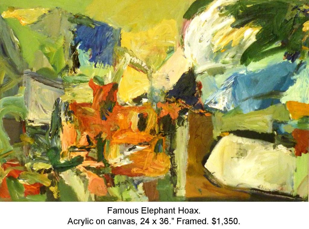 Fred Wise, Famous Elephant Hoax, Acrylic on Canvas 36 in x 24 in 2014 2016 04 16.jpg