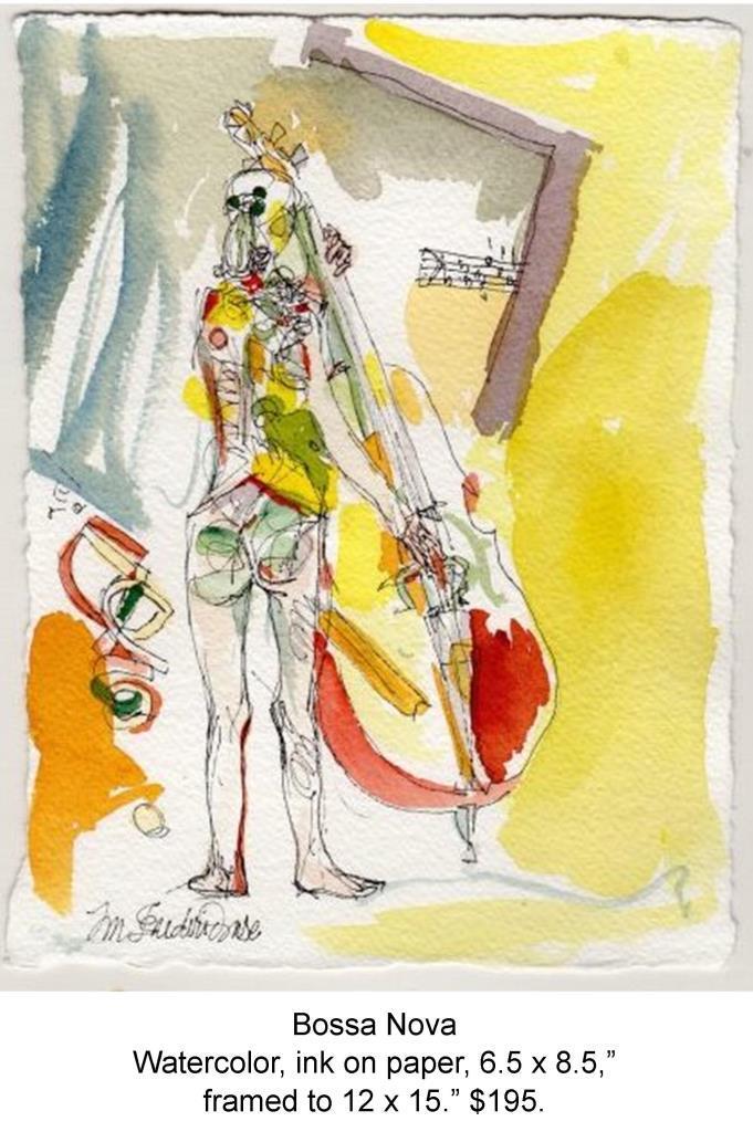 Fred Wise, Bosa Nova. Watercolor, pen on paper, 6.5 x 8.5, 2014 framed, web.jpg