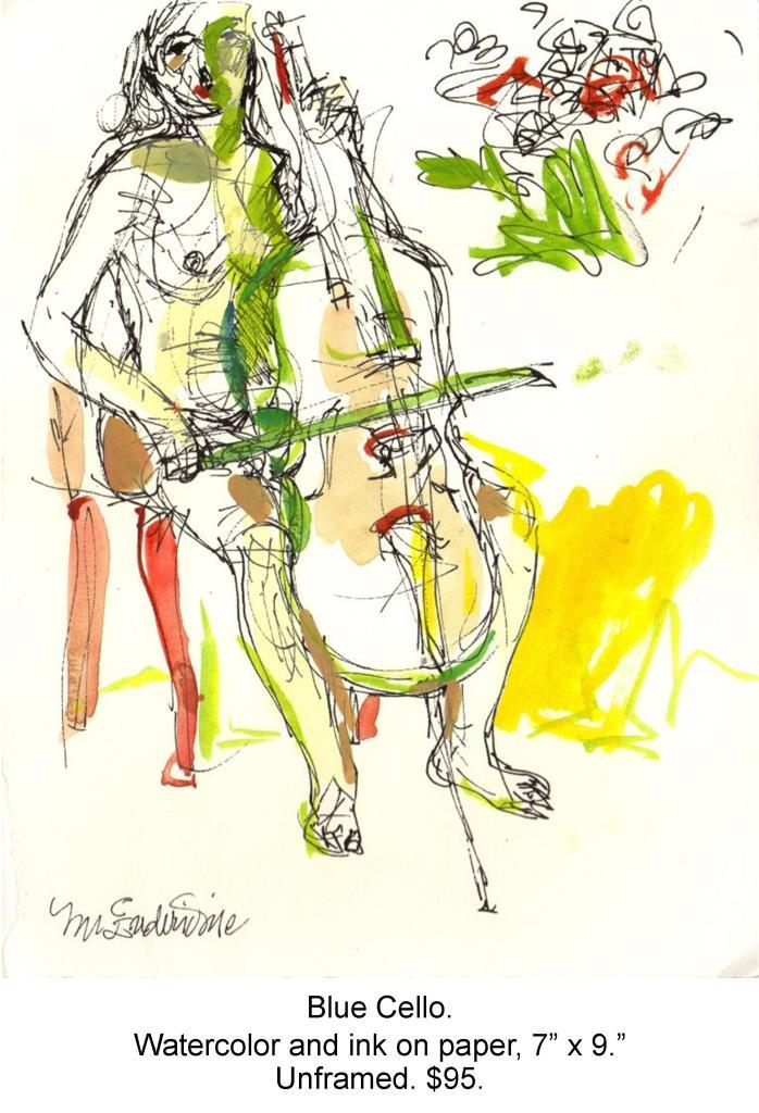 Fred Wise, Blue Cello. Watercolor, ink on paper, 7 x 9, 2004.jpg