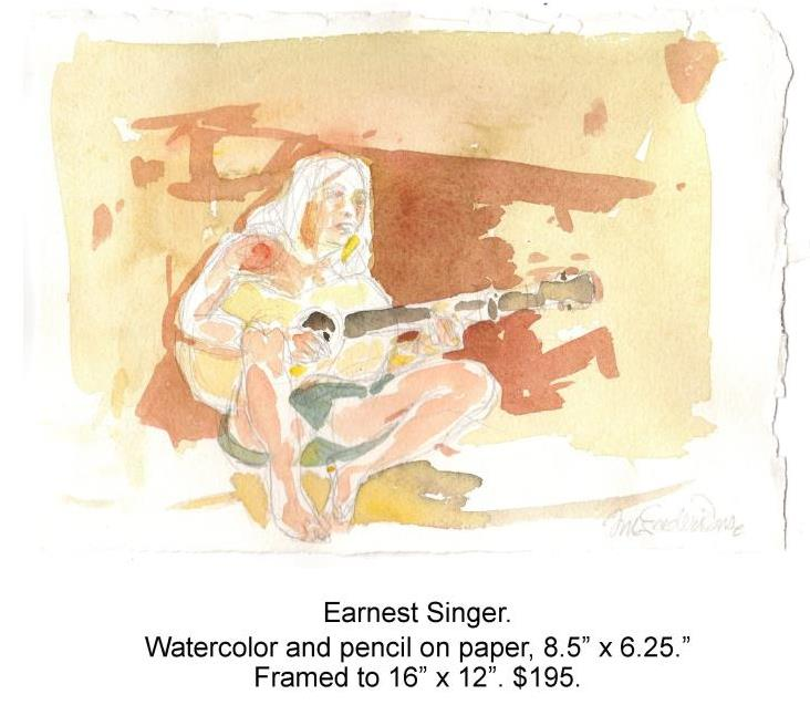 Fred Wise, Earnest Singer. Watercolor, pencil on paper, 8.5 x 6.25, 2015.jpg