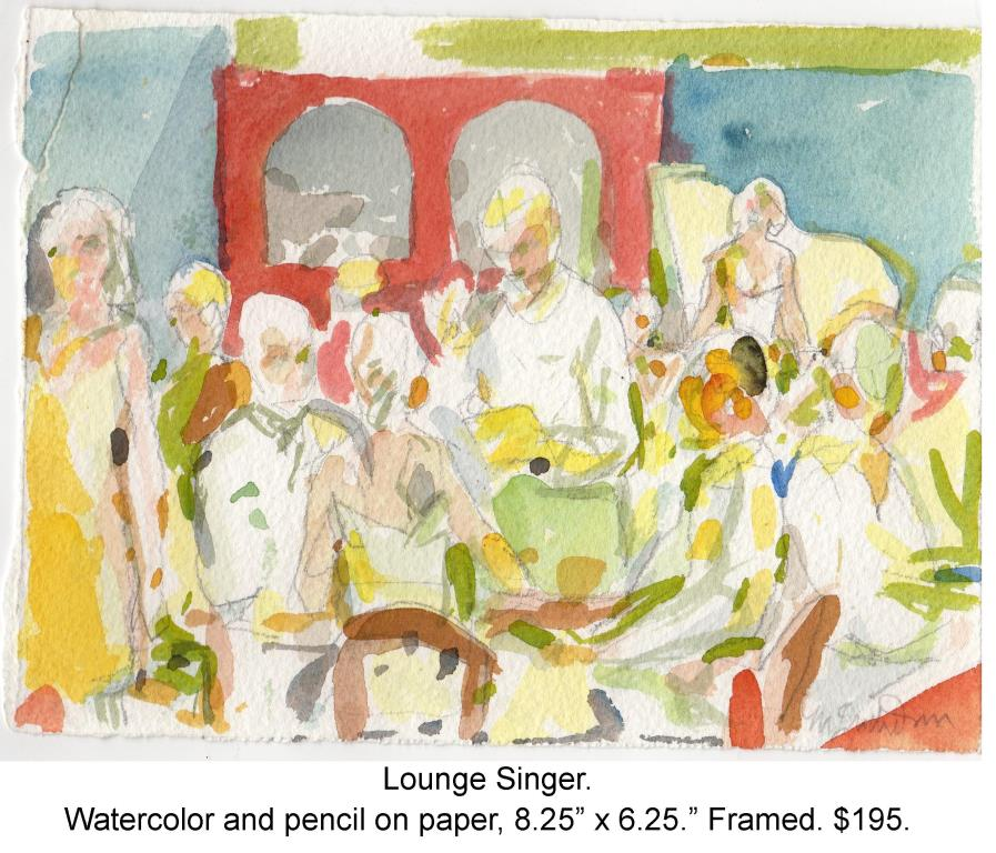 Fred Wise, Lounge Singer. Watercolor, pencil on paper, 8.25 x 6.25, 2014, framed.jpg