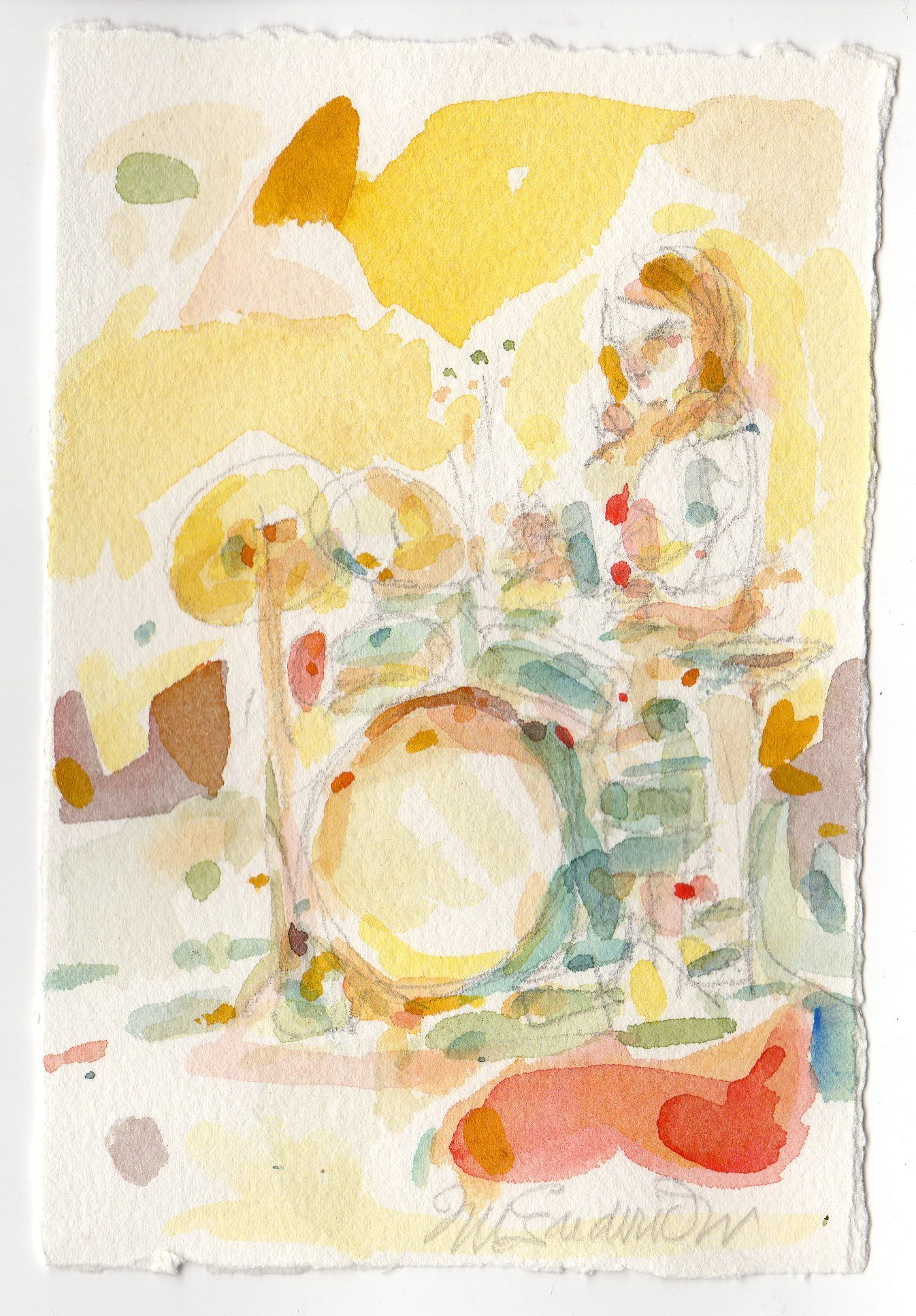 Fred Wise, Back Beat. Watercolor, pencil on paper, 4 x 6, 2015.jpg