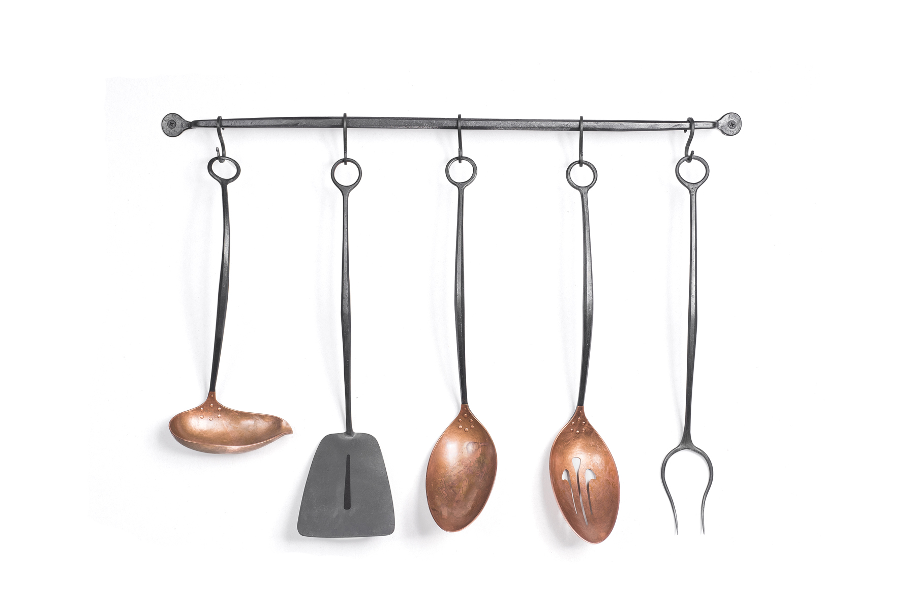 Smith Shop Signature Servingware Set:   Full set includes 3 copper and steel pieces - Serving Spoon, Slotted Spoon and Ladle; Steel Spatula and Meat Fork; Steel Hanging Bar and S-Hooks.