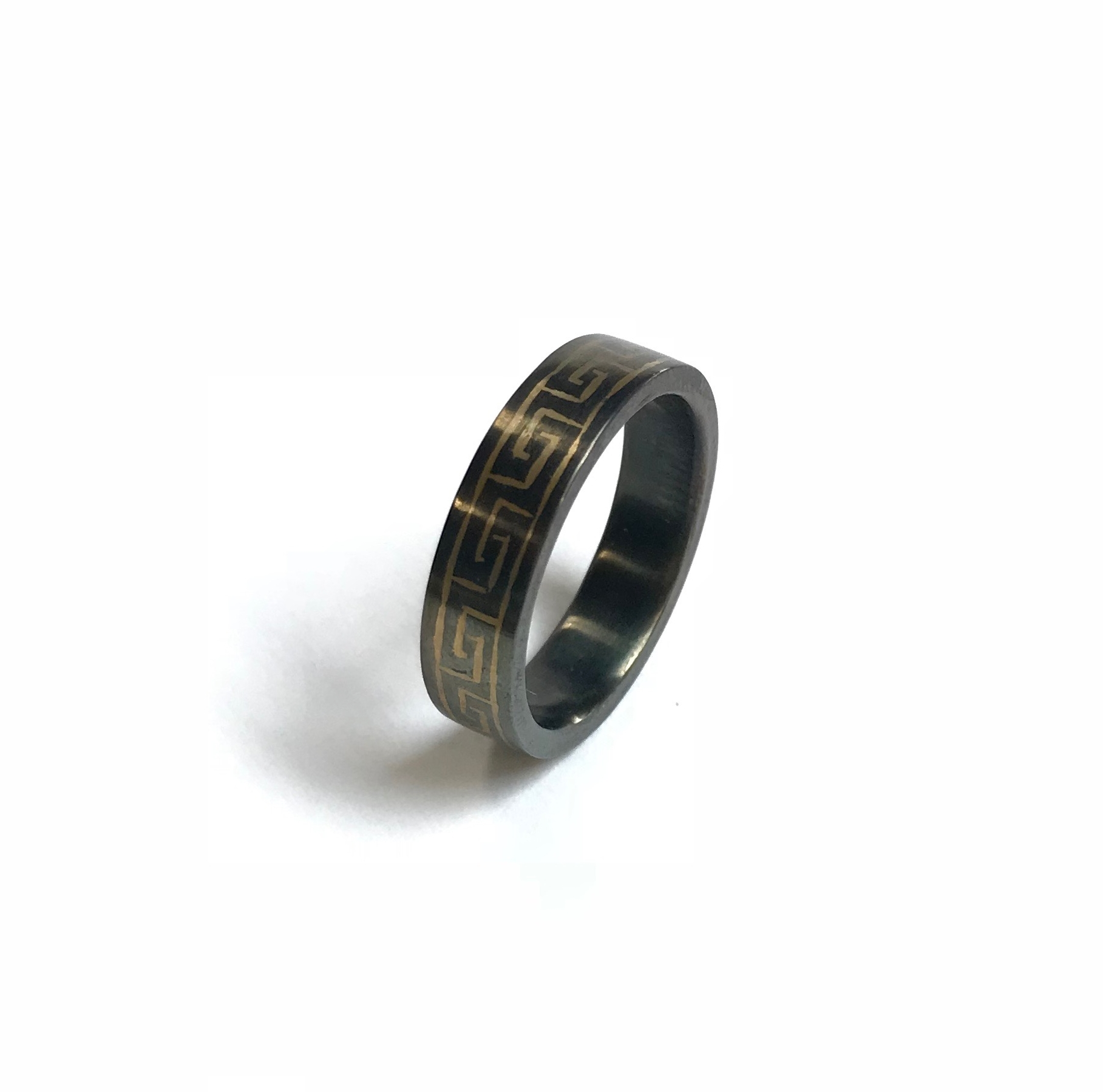 Steel Wedding Band with 18k Yellow Gold Greek Key Inlay