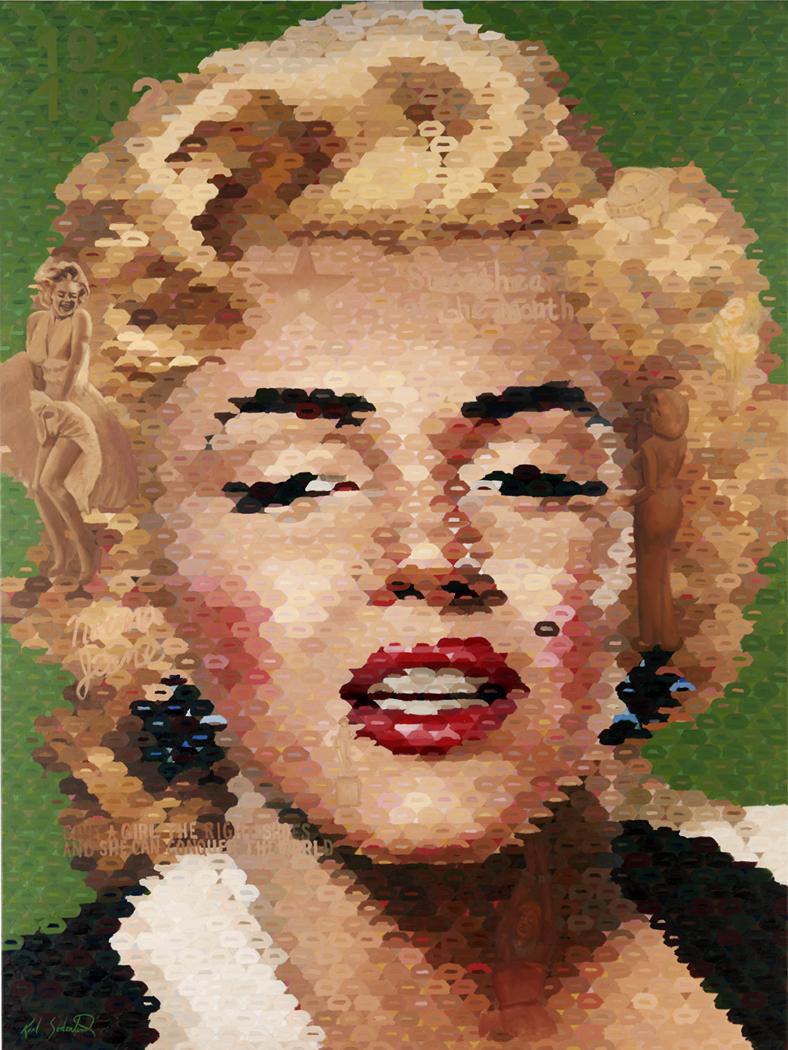 "Marilyn Monroe with green lips, 80"" x 60"""
