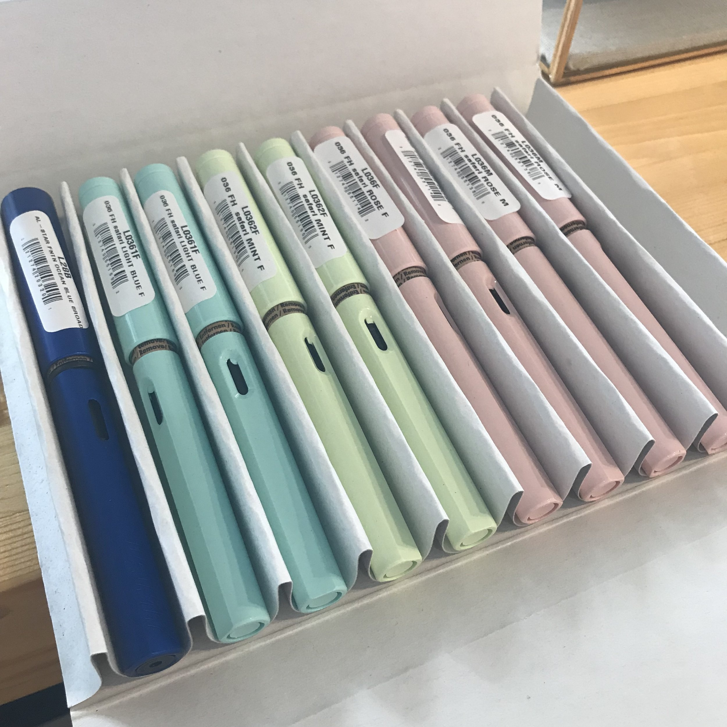 A colorful shipment of Lamy fountain pens! One of those lovely, left hand pinks became my new BFF in the letter writing game. Now I travel with it!