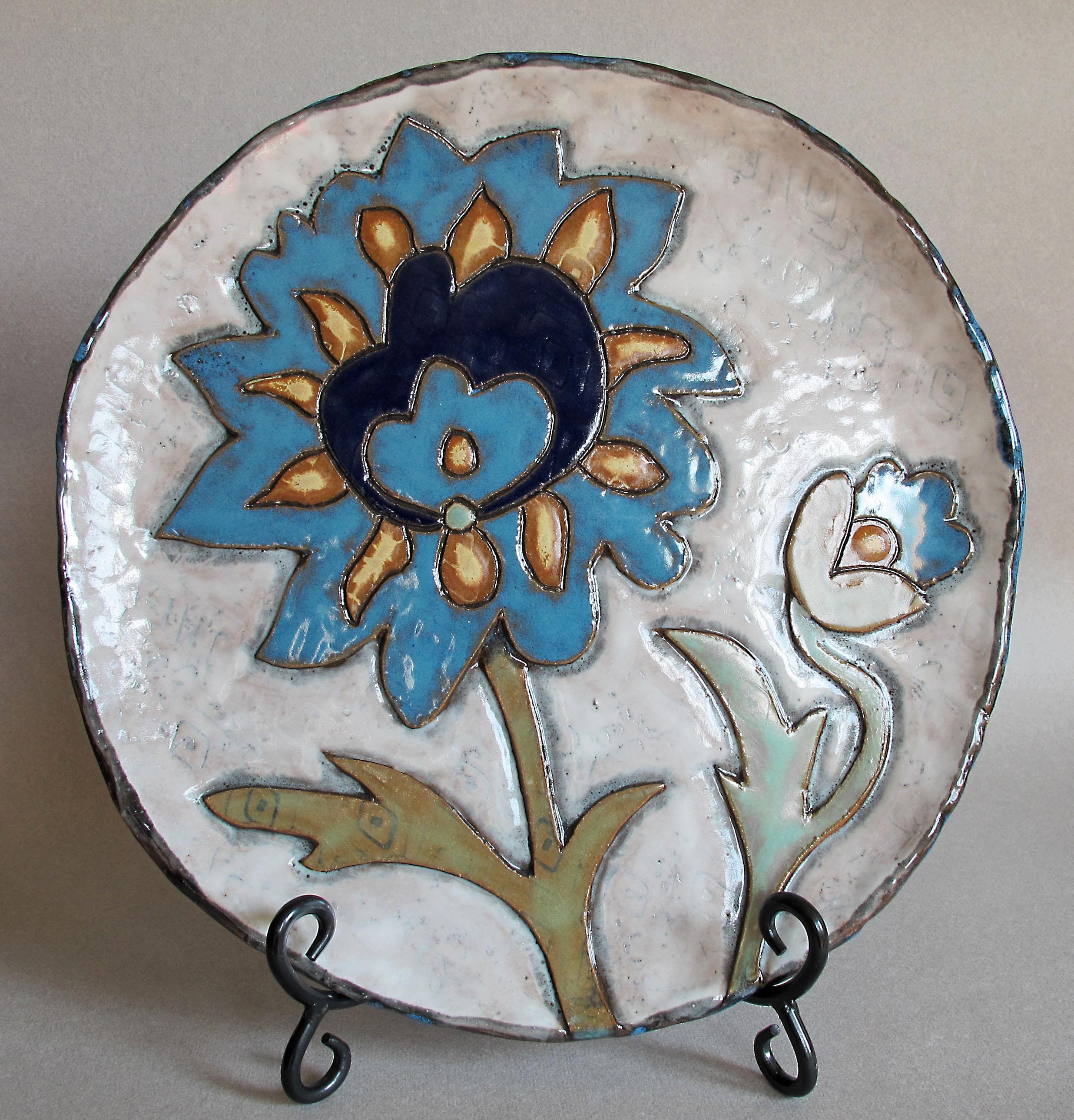 BLUE FLOWER ON WHITE