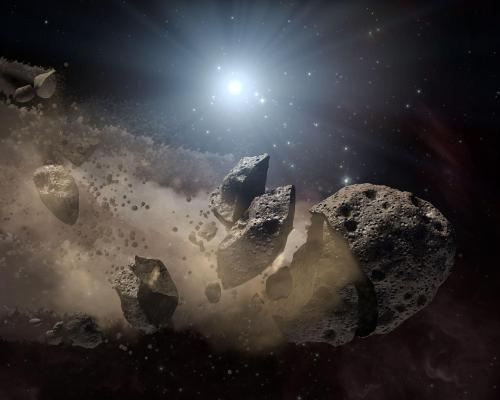 Artists concept of an asteroid breaking up, via NASA JPL.jpg