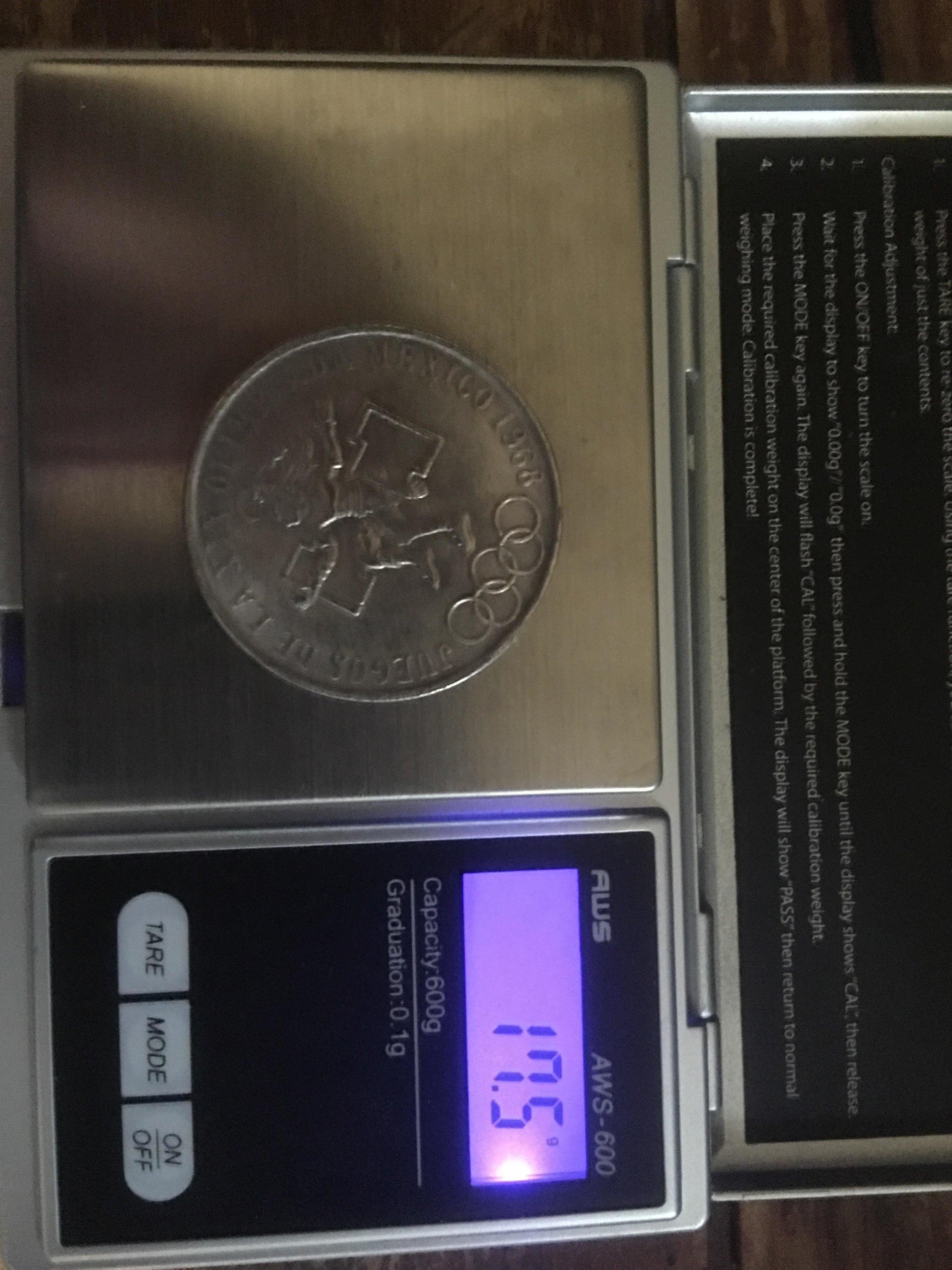 fake silver 1968 25 pesos