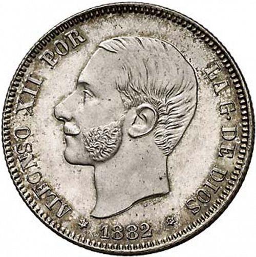 Real 1882 2 Pesetas beard bust