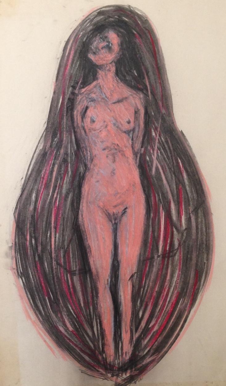Charcoal study, covered female